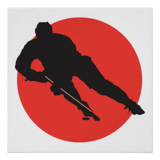ice hockey silhouette red circle design poster