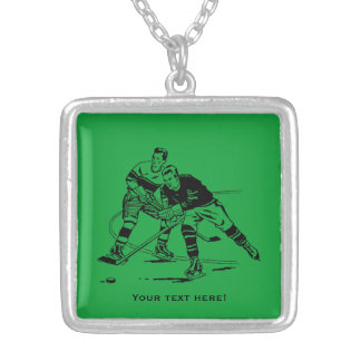 Ice hockey silver plated necklace