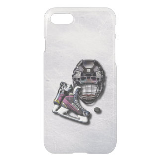 Ice Hockey Skates Helmet Puck With Name And Number iPhone 7 Case