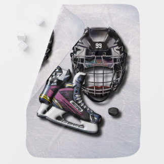 Ice Hockey Skates Helmet Puck With Name And Number Receiving Blankets