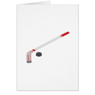 Ice hockey stick and puck card