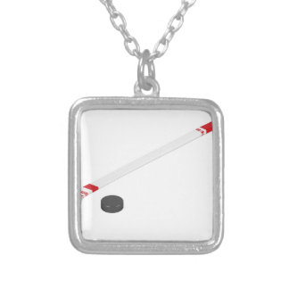 Ice hockey stick and puck silver plated necklace