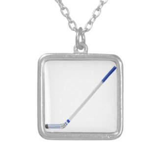 Ice hockey stick silver plated necklace