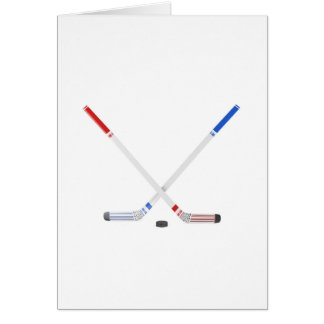 Ice hockey sticks and puck card