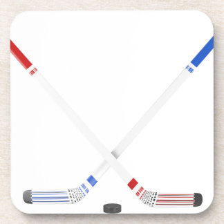 Ice hockey sticks and puck coaster