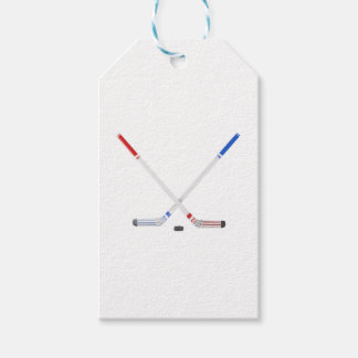 Ice hockey sticks and puck gift tags