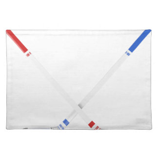 Ice hockey sticks and puck placemat