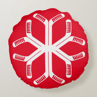 Ice Hockey Sticks Snowflake Throw Pillow