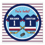 Ice Hockey Twins Jersey V2 1st Birthday Party 13 Cm X 13 Cm Square Invitation Card