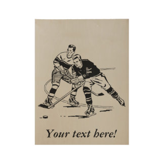 Ice hockey wood poster