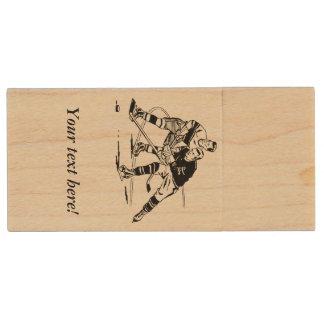 Ice hockey wood USB flash drive
