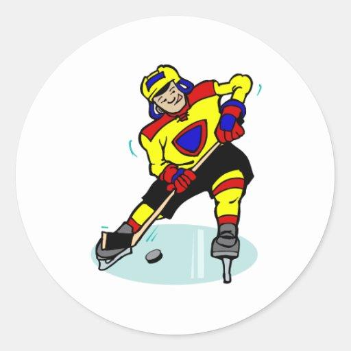 Ice Hockey Yellow Red Blue Round Sticker