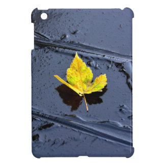 Ice in the pond with yellow maple sheet, ice form, iPad mini cases