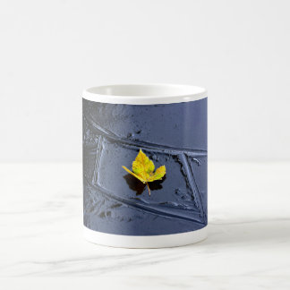 Ice in the pond with yellow maple sheet, ice form, mugs