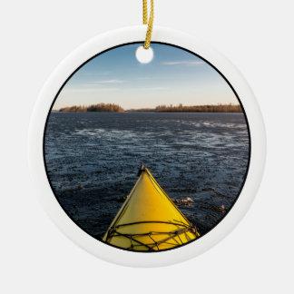 Ice kayaking ceramic ornament