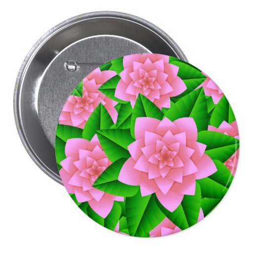 Ice Pink Camellias and Green Leaves Pin