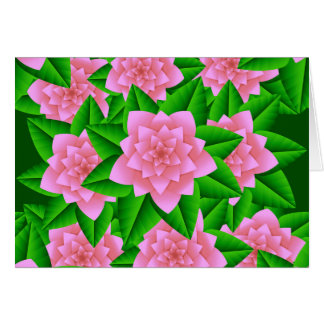 Ice Pink Camellias and Green Leaves Note Card