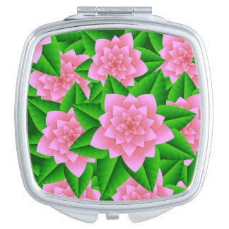Ice Pink Camellias and Green Leaves Makeup Mirror