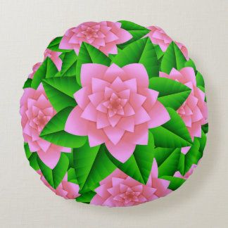 Ice Pink Camellias and Green Leaves Round Pillow