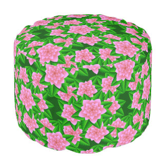 Ice Pink Camellias and Green Leaves Round Pouf