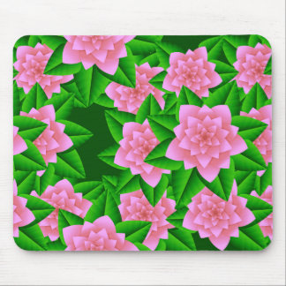 Ice Pink Camellias and Green Leaves Mousepad