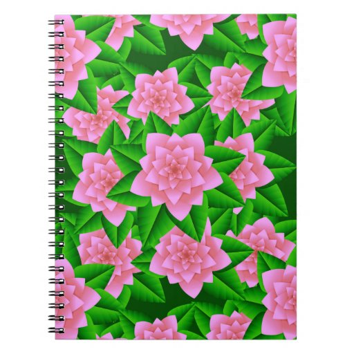 Ice Pink Camellias and Green Leaves Notebooks