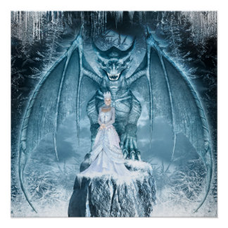 Ice Queen and Dragon Poster