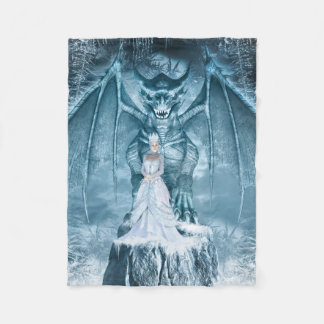 Ice Queen and Dragon Small Fleece Blanket