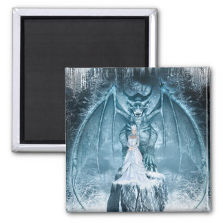 Ice Queen and Dragon Square Magnet