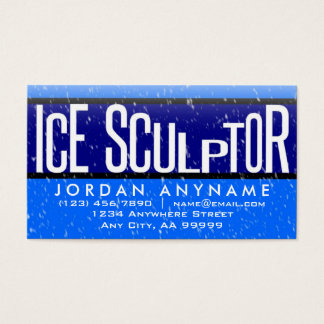 Ice Sculptor With Snow Falling Business Card