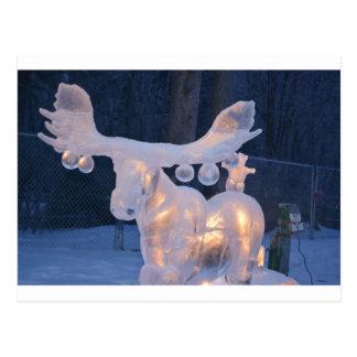 Ice Sculpture Snow Frozen Winter Seasons Weather Postcard