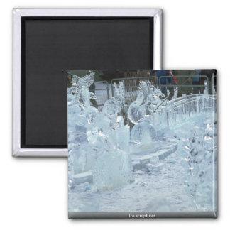Ice sculptures refrigerator magnets