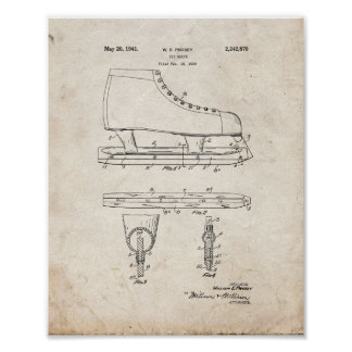 Ice Skate Patent - Old Look Poster