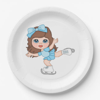 Ice Skater Blue Dress Brown Hair Paper Plate