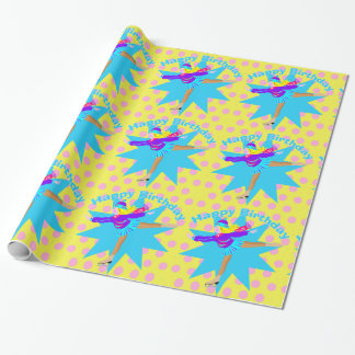 Ice Skater Happy Birthday Wrapping Paper