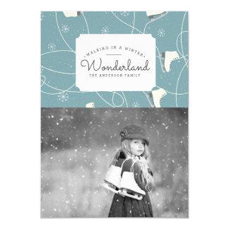 Ice Skater Winter Wonderland   Photo Card
