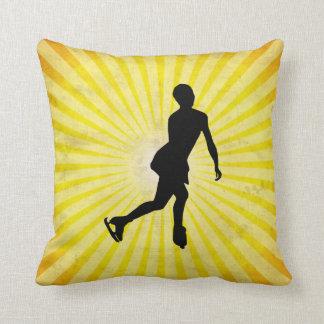Ice Skater; yellow Throw Pillow
