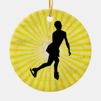 Ice Skater; yellow Double-Sided Ceramic Round Christmas Ornament