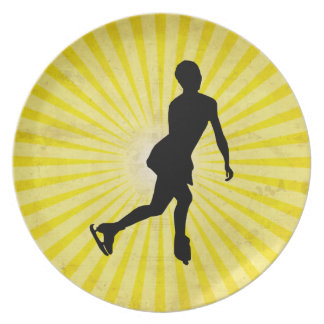 Ice Skater; yellow Plate
