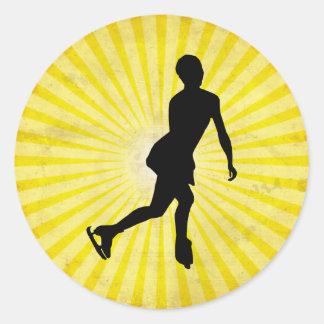 Ice Skater; yellow Round Sticker