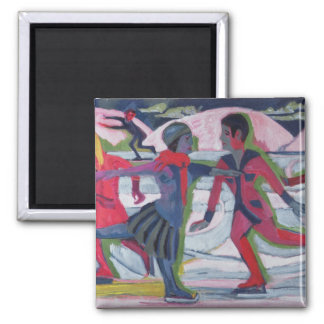 Ice Skaters Square Magnet