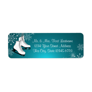 Ice Skates and Snowflakes Aqua Teal Return Address Label