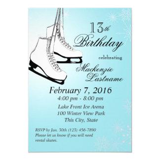 Ice Skates and Snowflakes Birthday Card