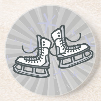 ice skates and snowflakes graphic beverage coasters