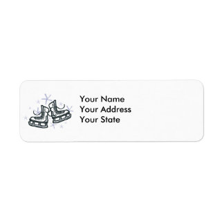 ice skates and snowflakes graphic return address label
