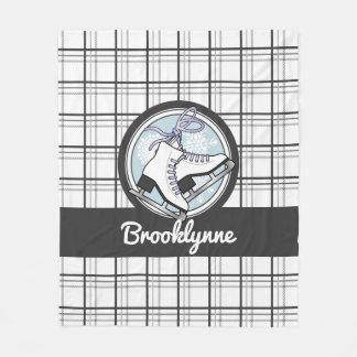 Ice Skates and Snowflakes Tartan Pattern Cute Fleece Blanket