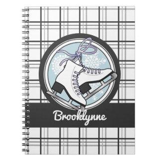 Ice Skates and Snowflakes Tartan Pattern Cute Notebook