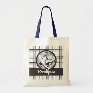 Ice Skates and Snowflakes Tartan Pattern Cute Tote Bag