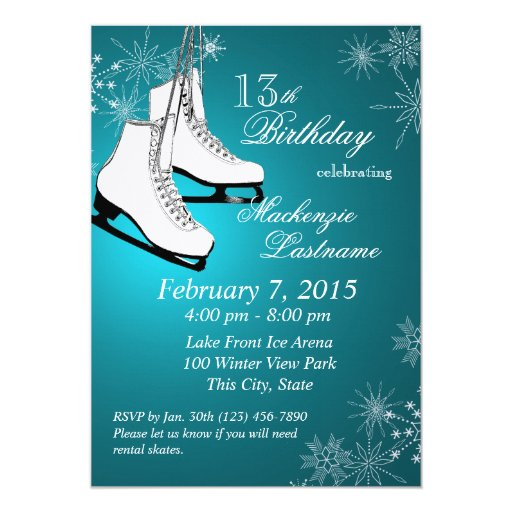 Ice Skates and Snowflakes Teal Birthday 5x7 Paper ...