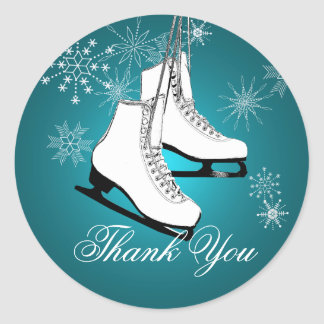 Ice Skates and Snowflakes Teal Classic Round Sticker